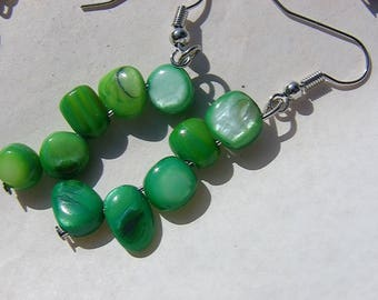 beautiful emerald green shell earrings