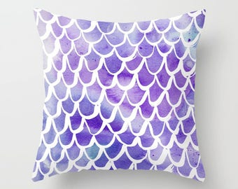Mermaid Throw Pillow . Watercolor Pillow . Mermaid Cushion . Purple Pillow . Mermaid Tail Pillow . Watercolor Cushion 14 16 18 20 inch