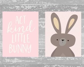 Nursery Woodland Printable Wall Art, Act Kind Little Bunny Woodland Rabbit art, Pink Nursery decor, Forest Animal print, Pink Nursery art