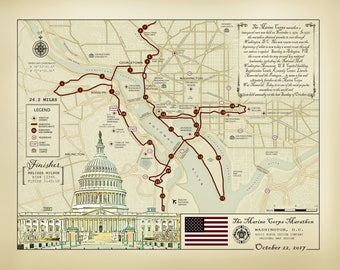 "2017 Marine Corps Marathon 11""x14"" [vintage inspired] route map"