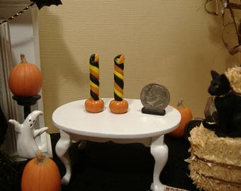 Barbie or 1:12 Scale Miniature Halloween Candle Set With Pumpkin Holders