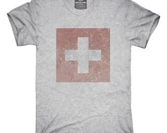 Retro Vintage Switzerland Flag T-Shirt, Hoodie, Tank Top, Gifts