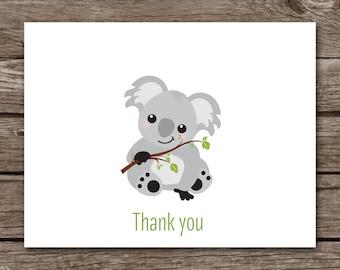 PRINTABLE Koala Note Cards, Koala Cards, Notecards, Bear Note Cards, Bear Cards, Koala Stationery, Koala Stationary,  Set of 8