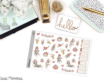 DOODLE SOCK MONKEY Paper Planner Stickers