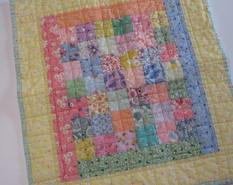 Vintage Reproduction Feedsack Fabric Postage Stamp Miniature Quilt-Doll Quilt