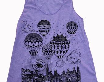 Women's GRAVITATION Hot Air Balloon Tank Top Sacred Geometry Tattoo Style Shirt