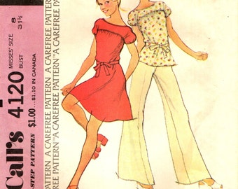 McCall's 4120 Pullover Dress, Top, Pants Size 8 VINTAGE 1970s ©1974
