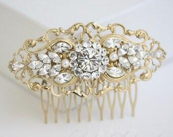 Gold Bridal Comb Art Deco Wedding Hair Accessories Vintage Filigree Comb Pearl Rhinestone Hair Piece. BELLA 2