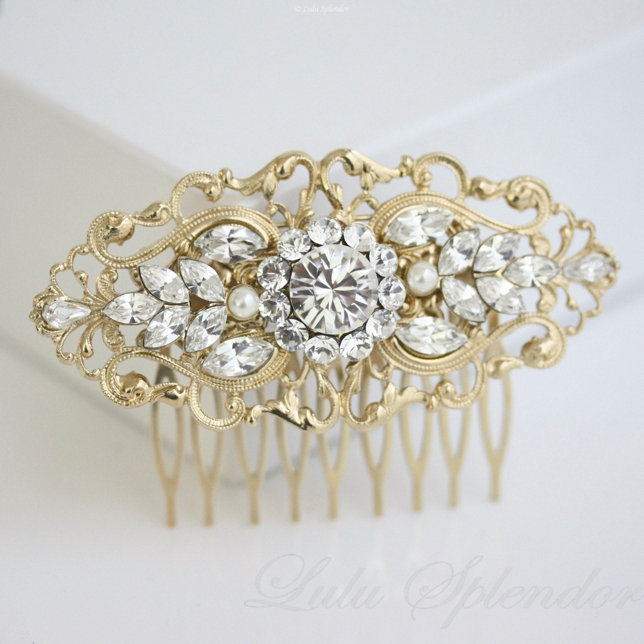 gold bridal comb art deco wedding hair accessories vintage