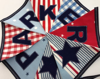 Personalised Name Personalized Name Boys Bunting Banner Red White Blue Gingham Stars Stripes - Price per flag