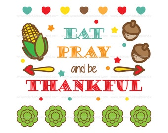 Thanksgiving Word Art - Instant Download Printable Digital Vector Cutting File