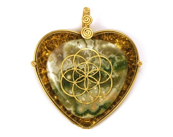 Ocean Jasper with 22k Seed of Life (collaboration with Sacred State Design) - Orgone Pendant