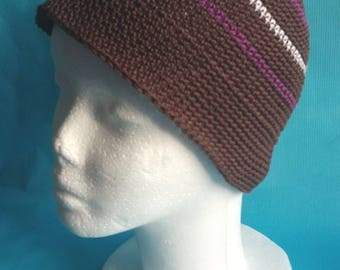 Adult Hat brown lines white and purple