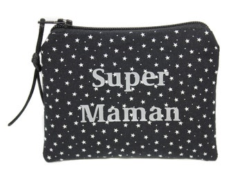 Mother's day, gift MOM purse fabric stars personalised, personalized gift
