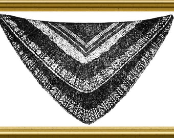 Shetland Shawl Victorian Knitting pattern 1858 PDF Historic Knitting
