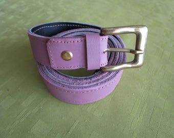 old pink and black reversible leather belt