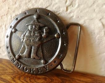 Vintage Solid Brass Smokey The Sheriff  Belt Buckle