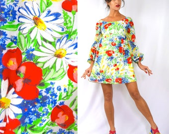 Vintage 60s 70s Rainbow Floral Print Empire Waist Balloon Sleeved Babydoll Dress (size xs)
