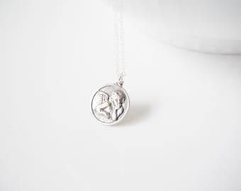Guardian Angel Necklace, Silver Angel Pendant, Coin Angel Pendant, Guardian Angel, Silver Angel Coin Pendant, everyday jewelry, medallion