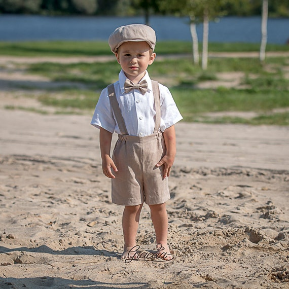 Ring bearer newsboy outfits Baby boy beige suit Wedding baby