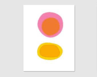 Mid Century Modern Print,Abstract Art Print, Modern Wall Art,  Minimalist Art, Orange, Pink