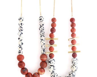 Aussie Red -- colorblock gemstone beaded necklace with brass bars, statement, short length, colorful, boho, bohemian, for her