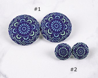 Blue Mandala Covered Button Earrings - Blue Green Medallion Statement Stud Posts