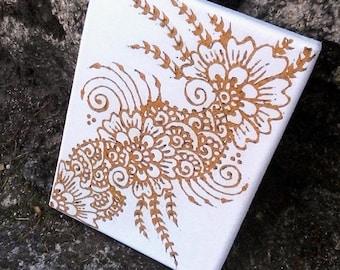 Henna on canvas, Organic, Vegan, Henna wall art, Wall art henna, Spiritual style, Henna Canvas, Floral canvas, Paisley, Mehndi style
