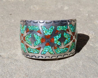 Turquoise and Coral Chip Inlay,Vintage Navajo Turquoise Coral Cuff,Native American Turquoise,Turquoise and Coral Jewelry, Old Pawn Jewelry