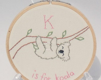 K is for Koala Bear  Embroidery Hoop Art - Nursery Decor - Letter K Name - Baby Shower Gift - Koala Lover Gift
