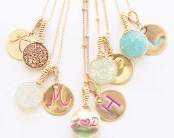Personalized Pop of Color Druze Pendant Necklaces by Bare and Me/ Spring and Summer Jewelry Ideas/ Wedding Party Gifts for Bridesmaids