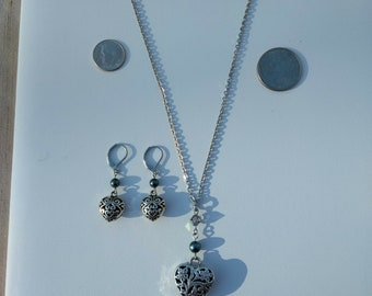 Silver Heart and Pearl Necklace and Earrings Set