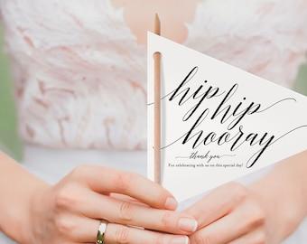 Unique Wedding Program, Pennant Program, Wedding Program Idea, Wedding Program Printable, Hip Hip Hooray, Instant Download #BPB310_3_1