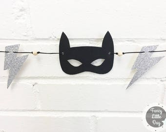 Mini Garland superhero, kids, birthday party decor, nursery baby mask black and silver zipper, mixed and neutral Decor
