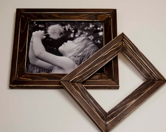 1) 8x10 and 1) 5x7 Stacked pine distressed rustic picture frame...stained dark walnut...HANDMADE
