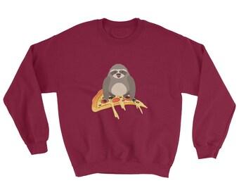 Cute & Funny Pizza Riding Sloth Crewneck Sweater