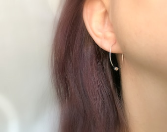 Small Silver Hoop Earrings Dainty Everyday Hoops Delicate Hoop Earrings Minimalist Hoop Earrings Beaded Black Hoop Earrings Small Hoops
