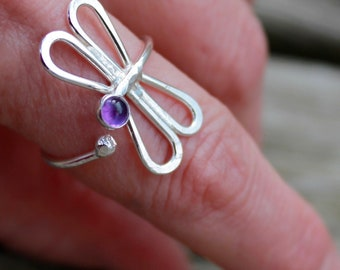 Dragonfly Ring With Stone. You choose the stone.  Wrapped around finger adjustable style. beautiful look and makes a great gift