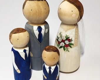 Wedding cake toppers wooden dolls // Custom wooden peg dolls // Personalised couple rustic cake topper