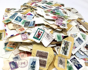 Vintage lot of used cancelled postage stamps US and international repurpose collage crafting supplies