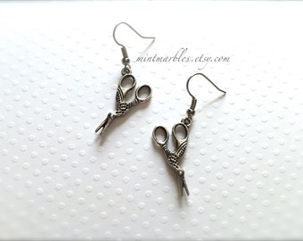 Small Bird Scissor Dangle Earrings. Silver. Scissors. Scissor Dangle Earrings. Unique Oddities. Under 15 Gifts for Her. Birds. Sewing.