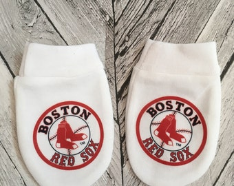 Boston Red Sox inspired  Baby Scratch Mitts