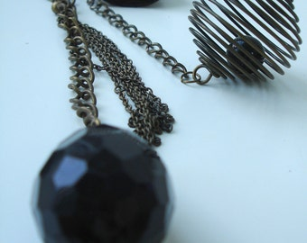 Black teardrop  - steampunk keyring pendant