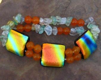 Orange Glass Bracelet, Beaded Glass Bracelet, Fused Glass Stretch Bracelet, Dichroic Jewelry, Summer Jewelry,  Hawaiian Sunset