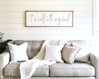 Living Room Sign | It Is Well With My Soul | Wood Sign | Living Room