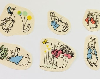 Set of 6 iron on fabric motifs/patches/embellishments Peter Rabbit and Friends