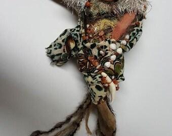 Shaman Moon, Cat Goddess, Shaperhifter, Earth Mother Doll, Kitchen Witch, Moon Magic, Shrine doll, Moonstruck Art Doll, Bruja Blanca