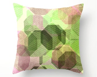 MINT GREEN and PINK geometric design decorative pillow, scatter cushion, square or lumbar pillows, dorm decor, pillow cover, cushion cover