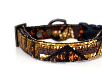 Canvas Aztec Dog Collar - brown, black, orange, mustard - Antique Brass