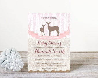woodland baby shower invitations, deer baby shower invites, forest animals invitation, winter baby shower invitations girl, PRINT AT HOME